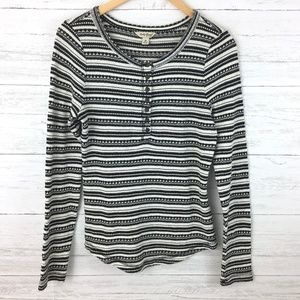 Lucky Brand Black and White Striped Thermal Henley